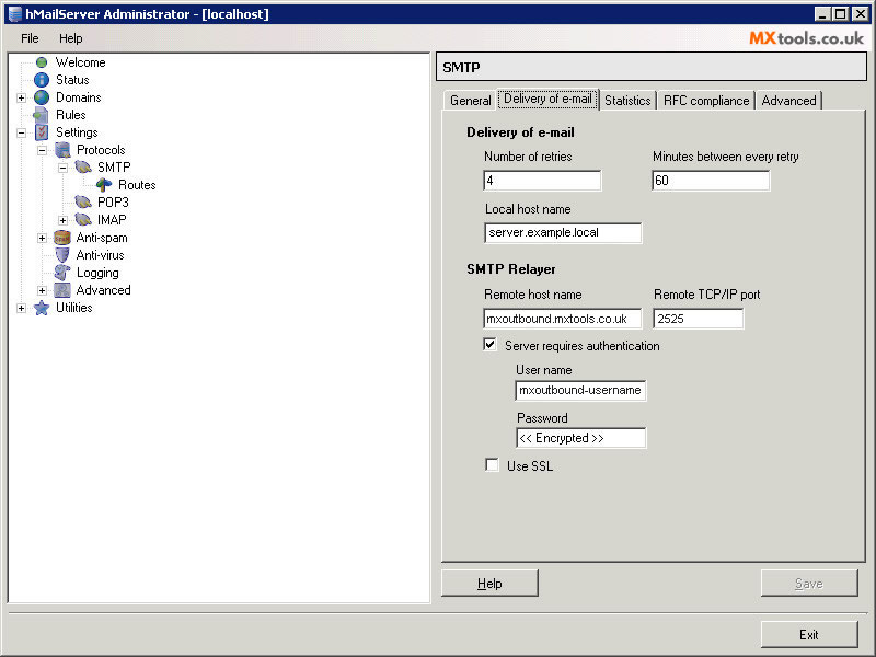 How do I set up outbound SMTP on hMailServer?